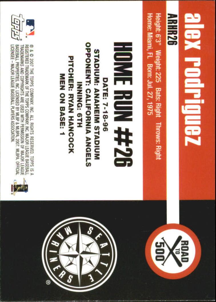 2007 Topps Alex Rodriguez Road to 500 #ARHR26 Alex Rodriguez back image