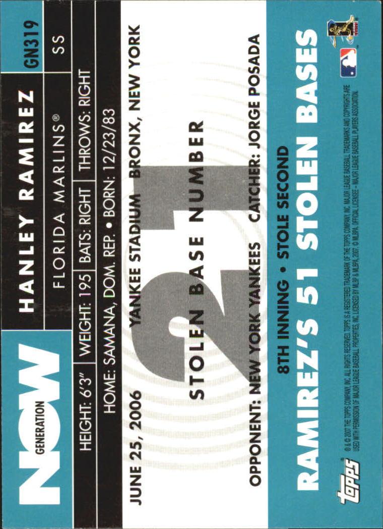 2007 Topps Generation Now #GN319 Hanley Ramirez back image