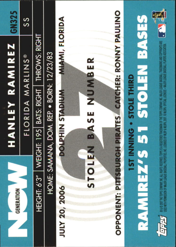 2007 Topps Generation Now #GN325 Hanley Ramirez back image