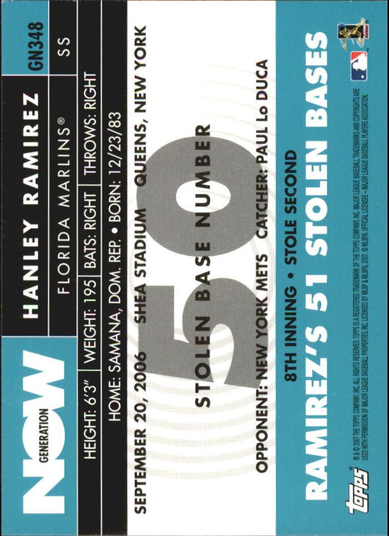 2007 Topps Generation Now #GN348 Hanley Ramirez back image