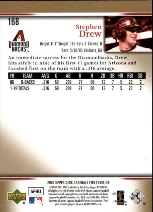 2007 Upper Deck First Edition #168 Stephen Drew back image