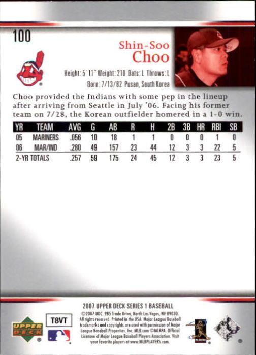 2007 Upper Deck #100 Shin-Soo Choo back image