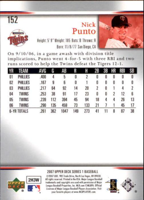 2007 Upper Deck #152 Nick Punto back image