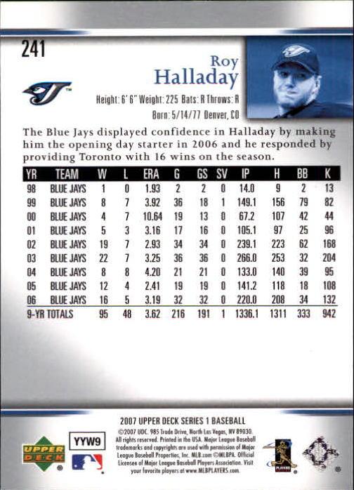 2007 Upper Deck #241 Roy Halladay back image