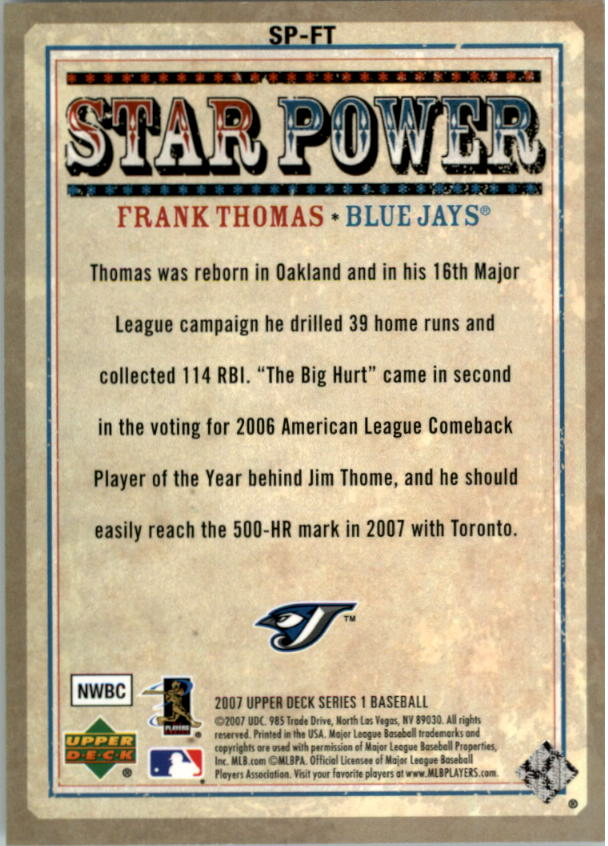 2007 Upper Deck Star Power #FT Frank Thomas back image