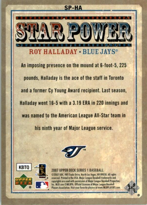 2007 Upper Deck Star Power #HA Roy Halladay back image