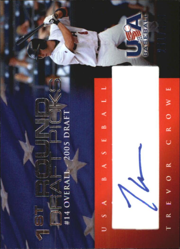 2006-07 USA Baseball 1st Round Draft Pick Signatures Blue #7 Trevor Crowe/100 *
