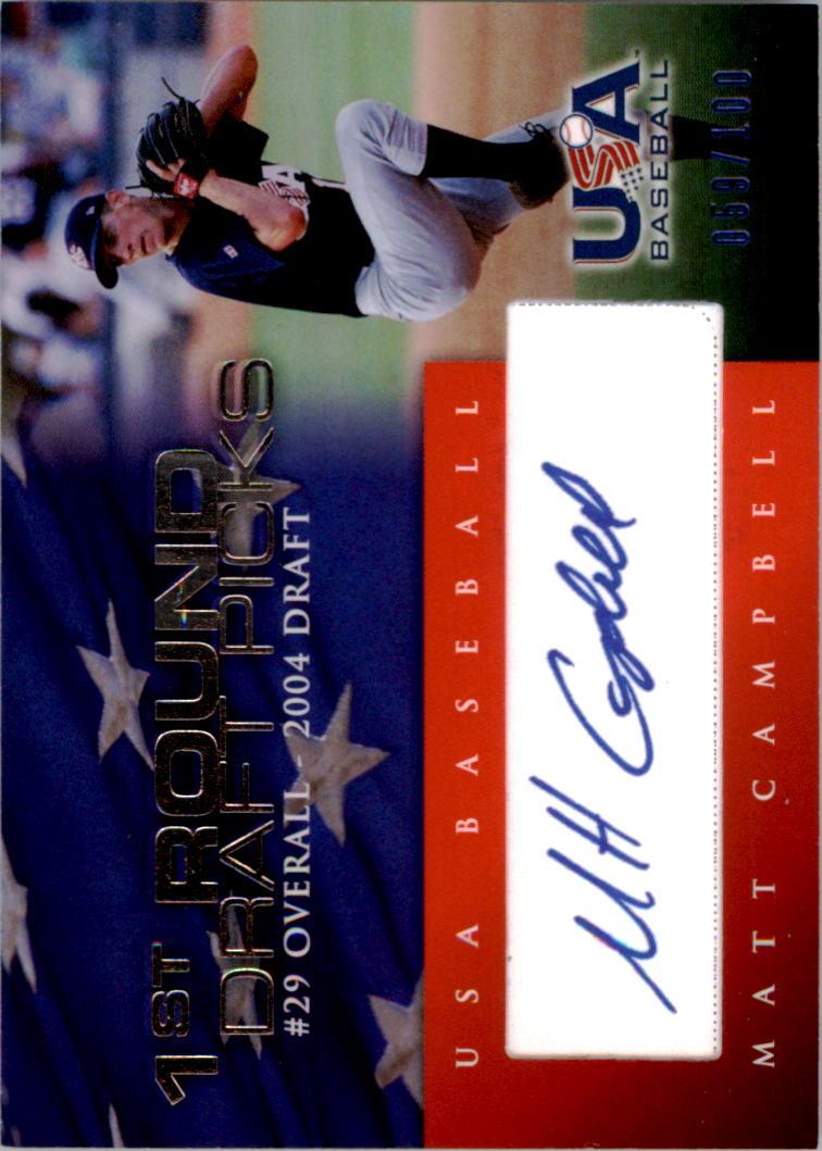 2006-07 USA Baseball 1st Round Draft Pick Signatures Blue #12 Matt Campbell/100