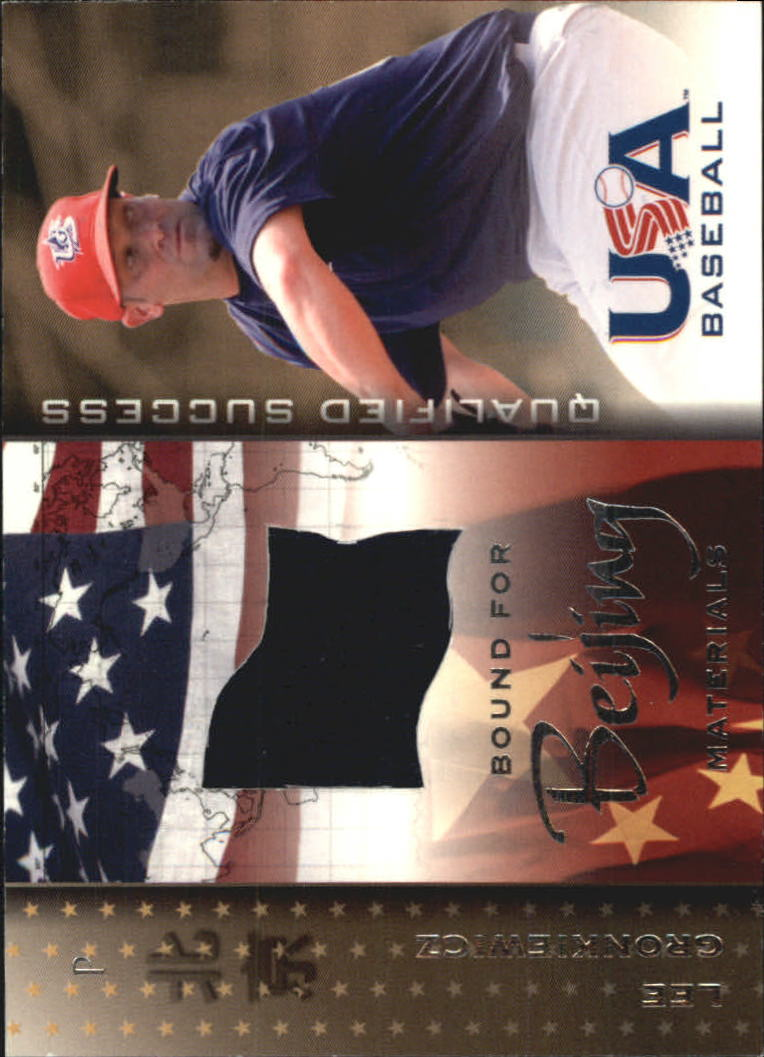 2006-07 USA Baseball Bound for Beijing Materials #6 Lee Gronkiewicz Jsy