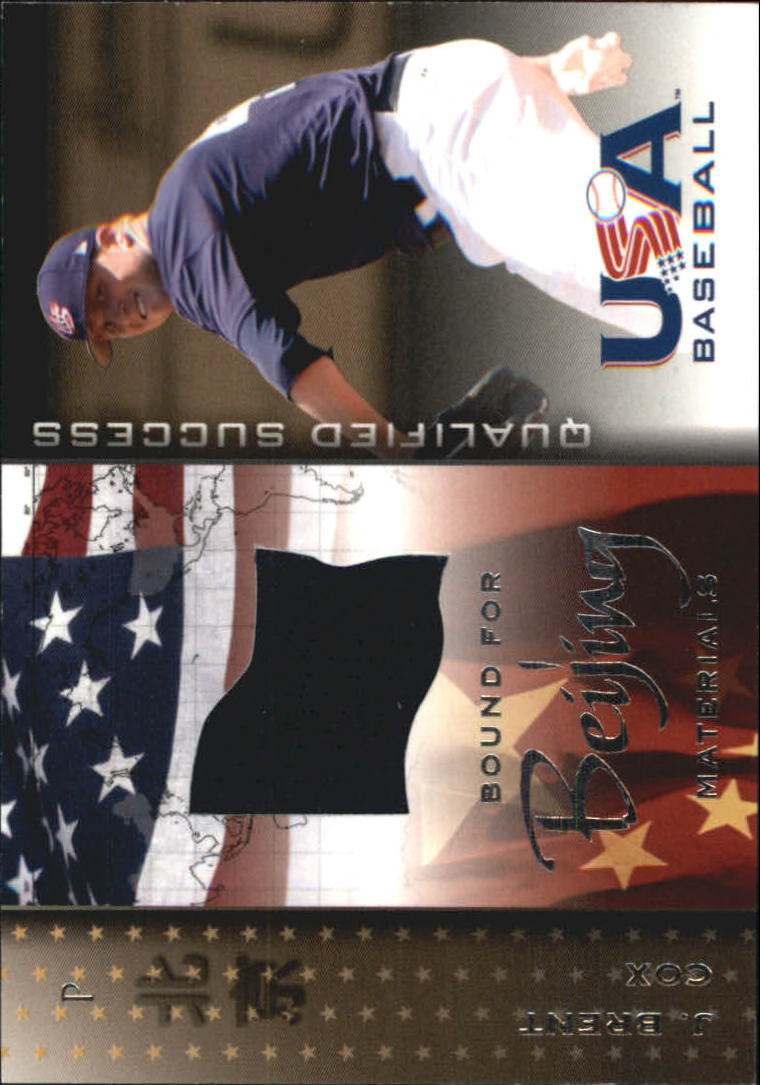 2006-07 USA Baseball Bound for Beijing Materials #7 J. Brent Cox Jsy