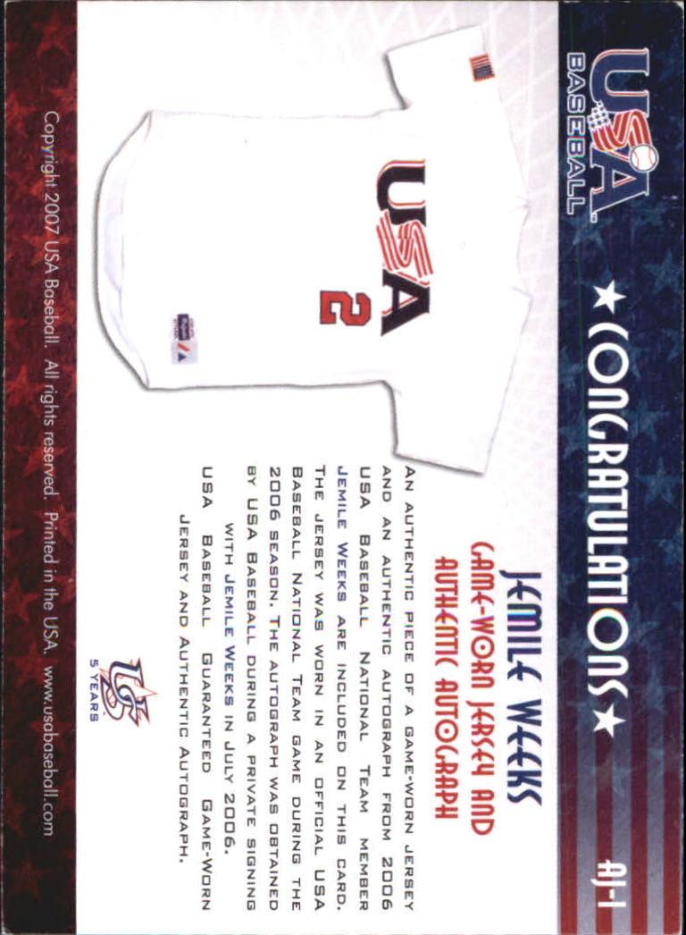 2006-07 USA Baseball Signatures Jersey Black #1 Jemile Weeks back image