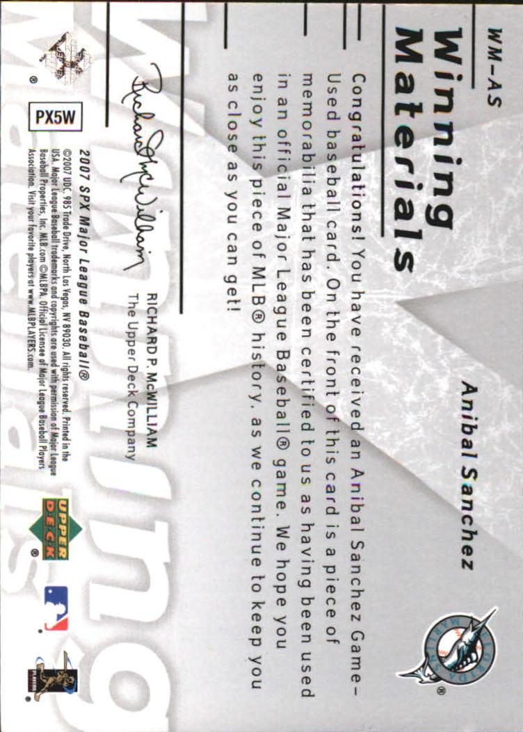 2007 SPx Winning Materials 199 Silver #AS Anibal Sanchez/199 back image