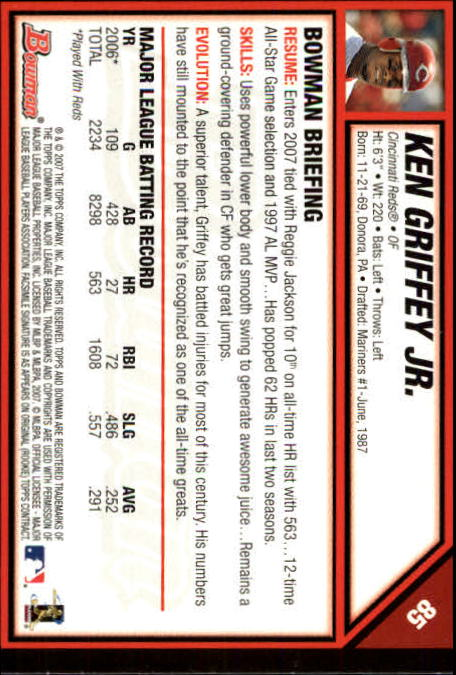 2007 Bowman #85 Ken Griffey Jr back image