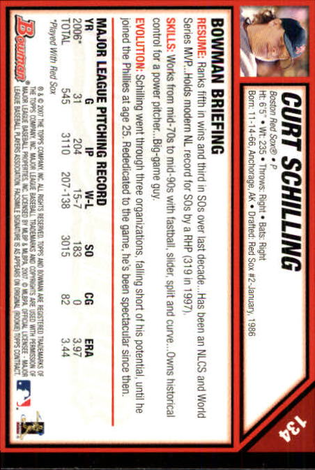 2007 Bowman #134 Curt Schilling back image