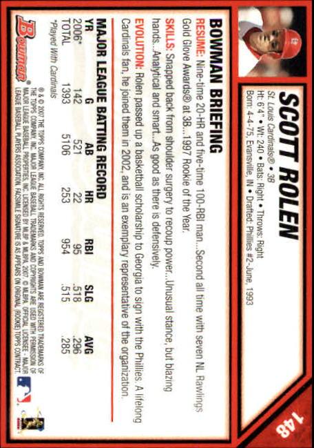 2007 Bowman #148 Scott Rolen back image