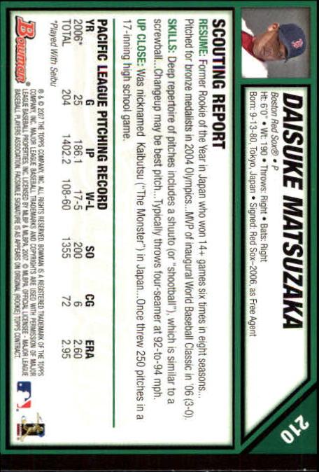 2007 Bowman #210 Daisuke Matsuzaka RC back image