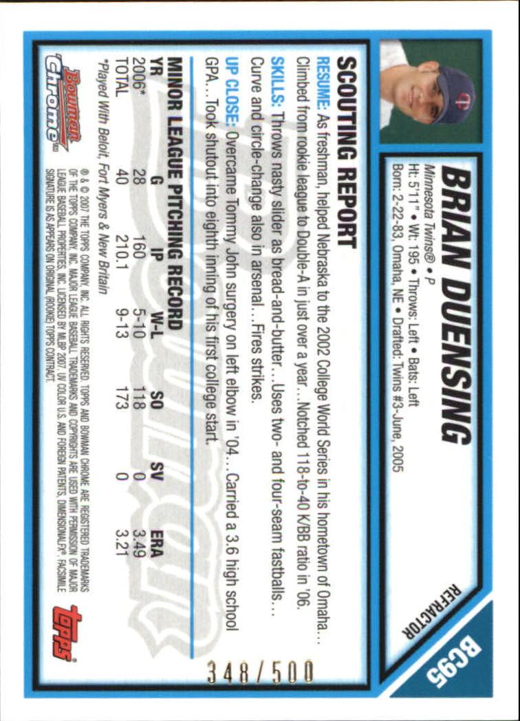2007 Bowman Chrome Prospects Refractors #BC95 Brian Duensing back image