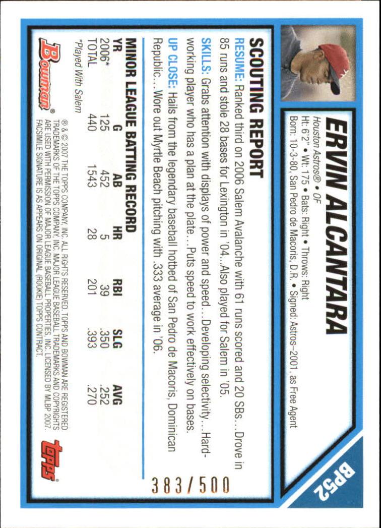 2007 Bowman Prospects Blue #BP52 Ervin Alcantara back image