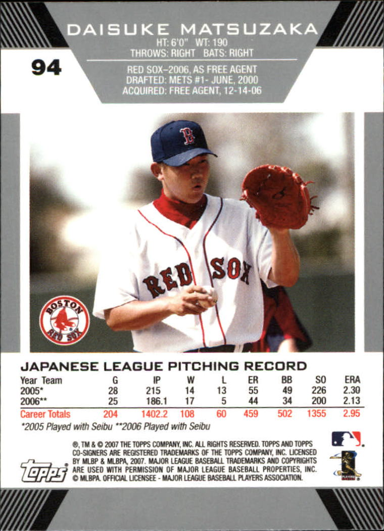 2007 Topps Co-Signers #94 Daisuke Matsuzaka RC back image