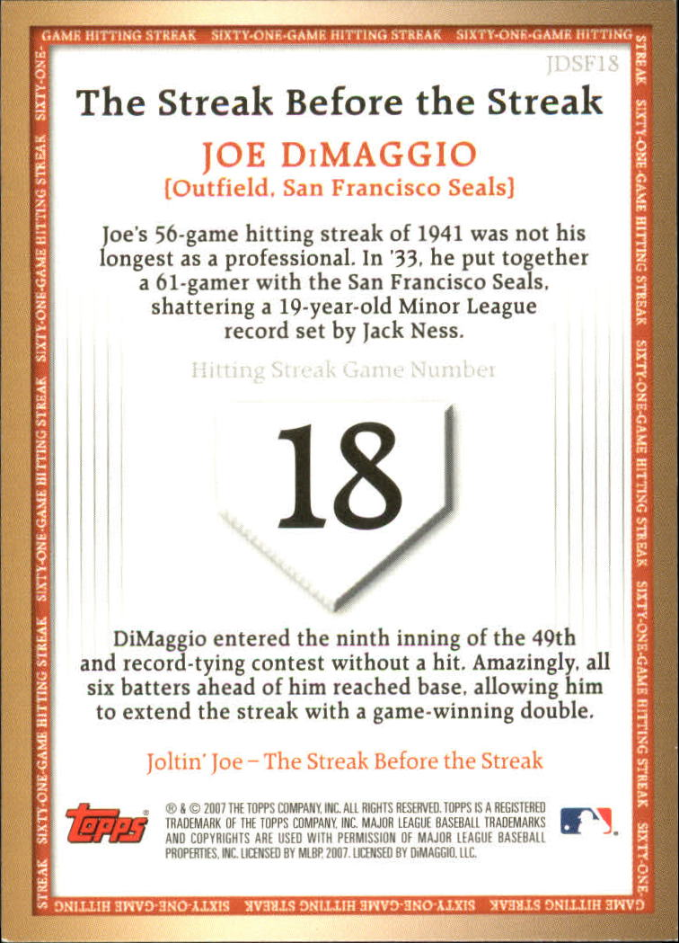 2007 Topps DiMaggio Streak Before the Streak #JDSF18 Joe DiMaggio back image