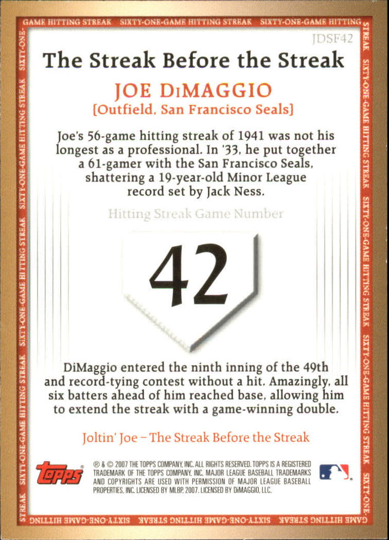 2007 Topps DiMaggio Streak Before the Streak #JDSF42 Joe DiMaggio back image