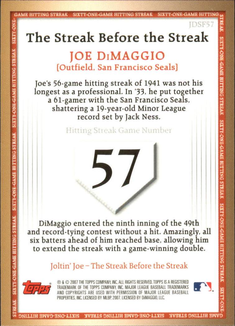 2007 Topps DiMaggio Streak Before the Streak #JDSF57 Joe DiMaggio back image