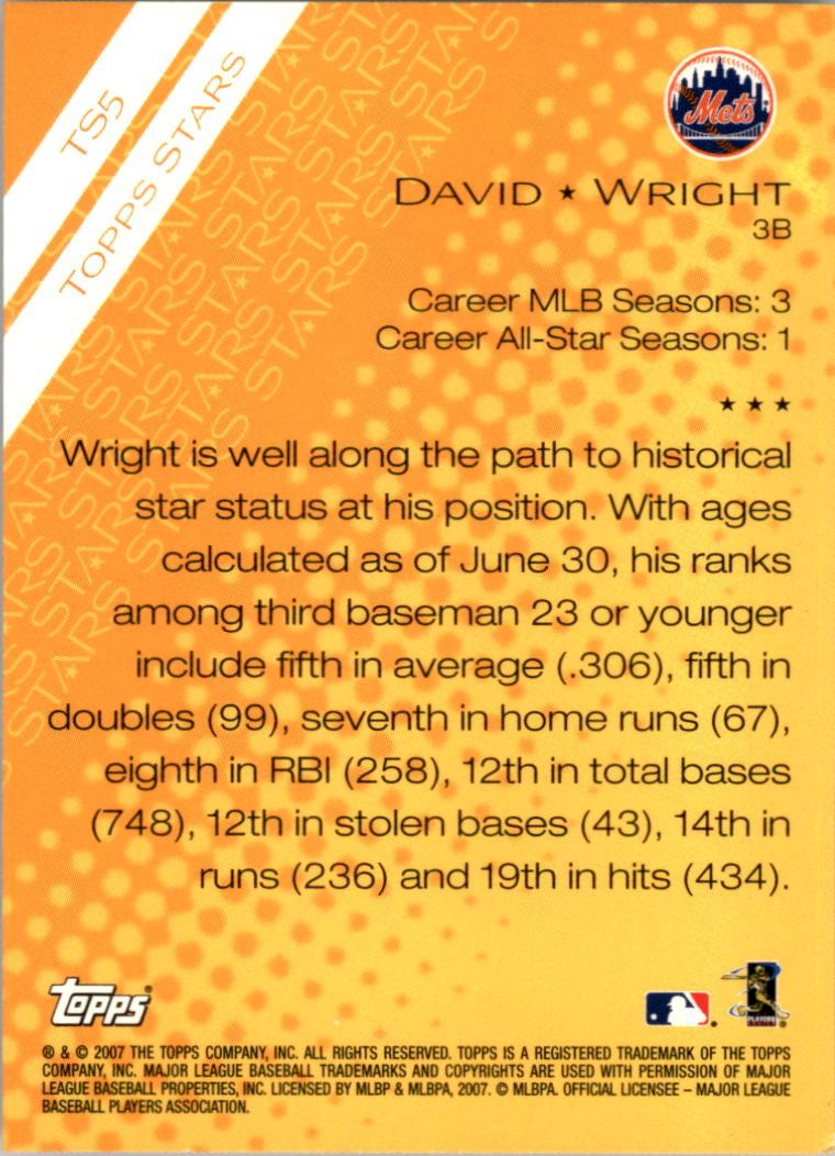 2007 Topps Stars #TS5 David Wright back image