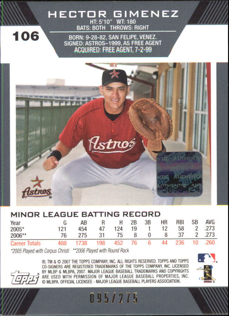 2007 Topps Co-Signers Red #106 Hector Gimenez AU back image