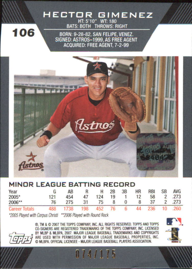 2007 Topps Co-Signers Silver Red #106 Hector Gimenez AU back image