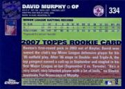 2007 Topps Chrome #334 David Murphy AU (RC) back image