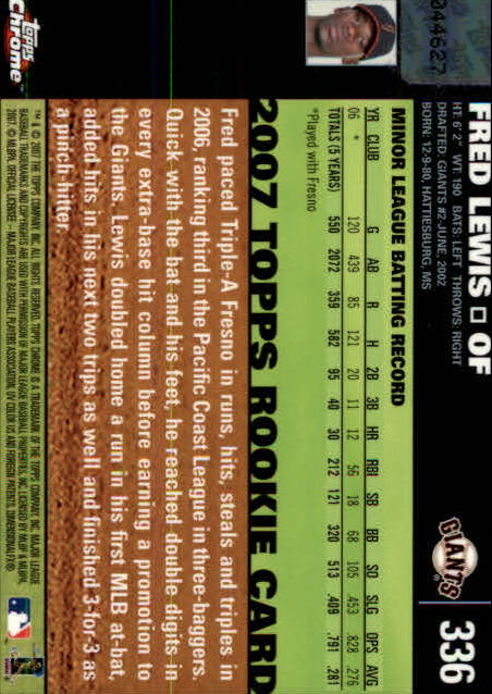 2007 Topps Chrome #336 Fred Lewis AU (RC) back image