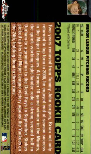 2007 Topps Chrome #341 Brian Stokes AU (RC) back image