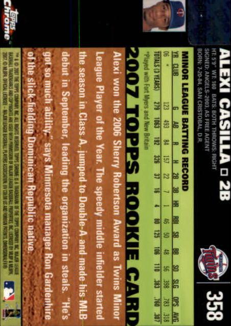 2007 Topps Chrome #358 Alexi Casilla AU RC back image