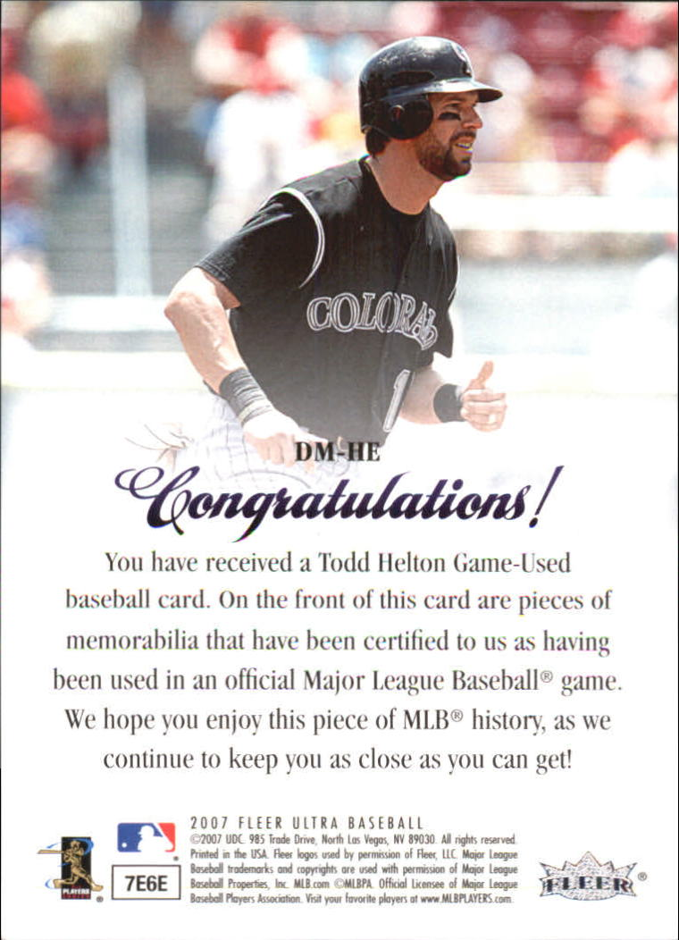 2007 Ultra Dual Materials #HE Todd Helton back image