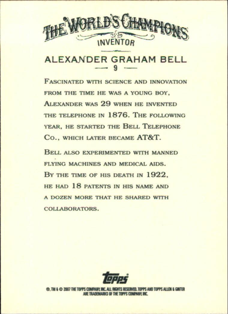 2007 Topps Allen and Ginter #9 Alexander Graham Bell back image