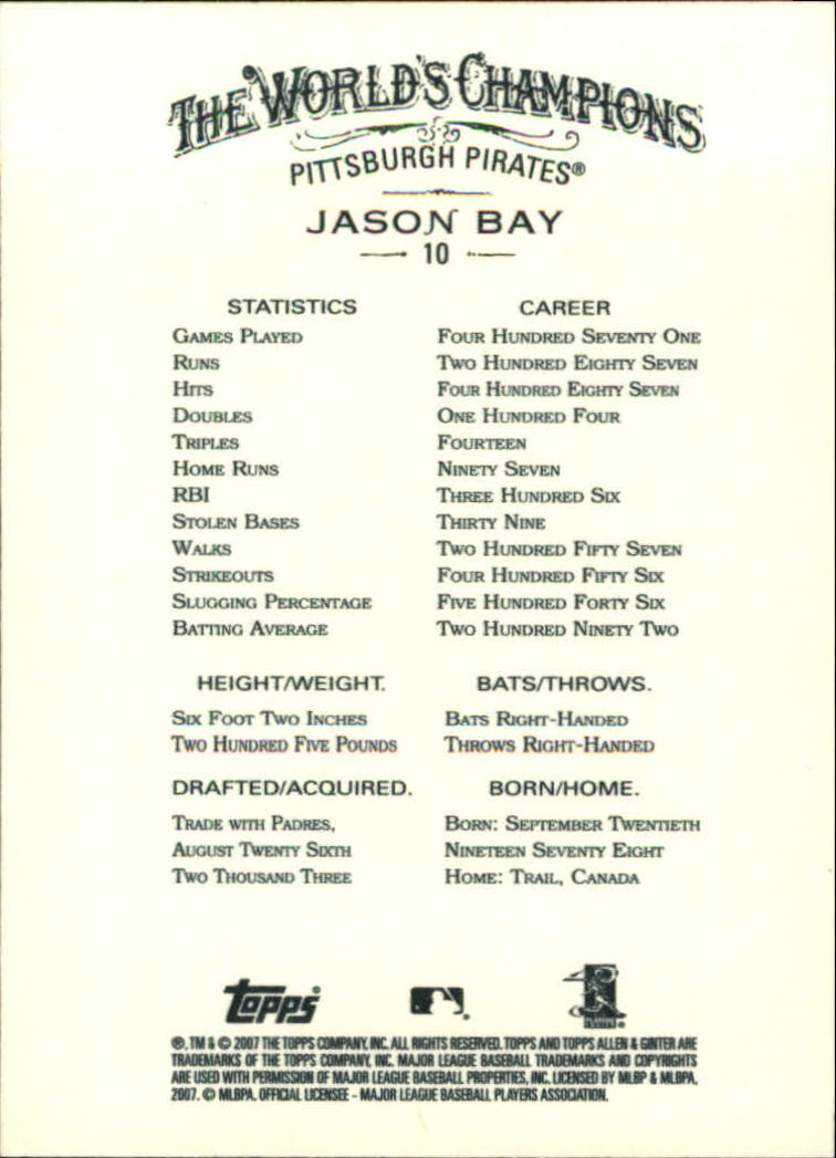 2007 Topps Allen and Ginter #10 Jason Bay back image