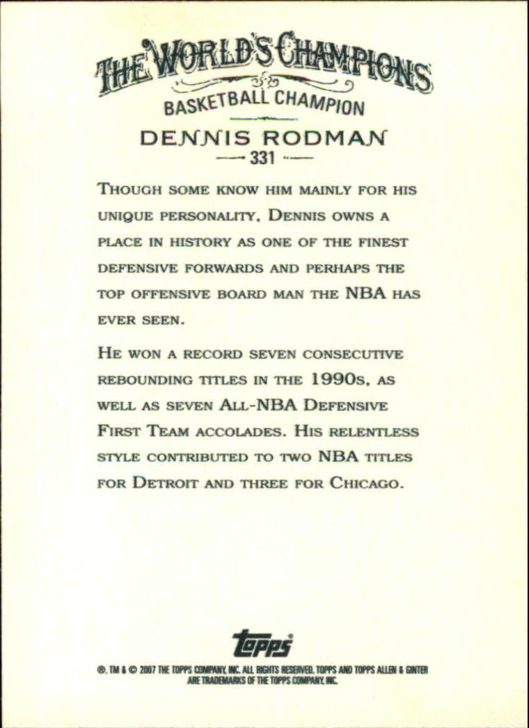 2007 Topps Allen and Ginter #331 Dennis Rodman SP back image