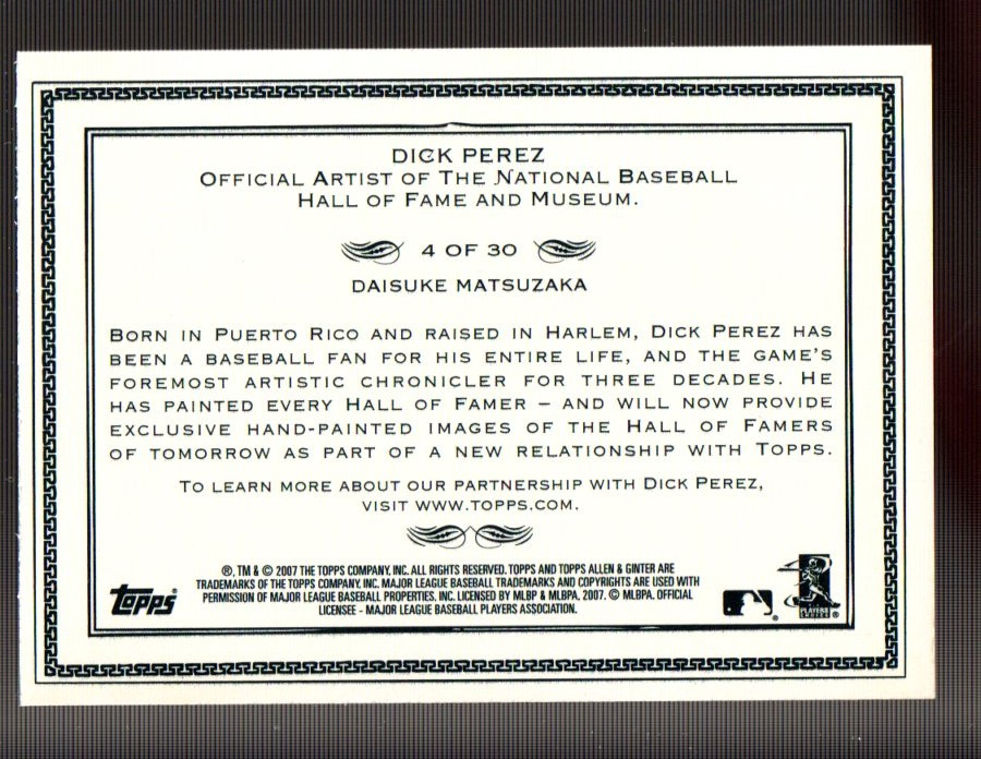 2007 Topps Allen and Ginter Dick Perez #4 Daisuke Matsuzaka back image
