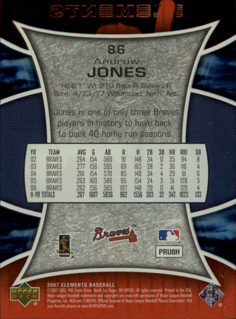 2007 Upper Deck Elements #86 Andruw Jones back image