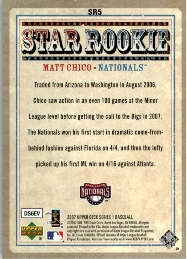 2007 Upper Deck Star Rookies #SR5 Matt Chico back image