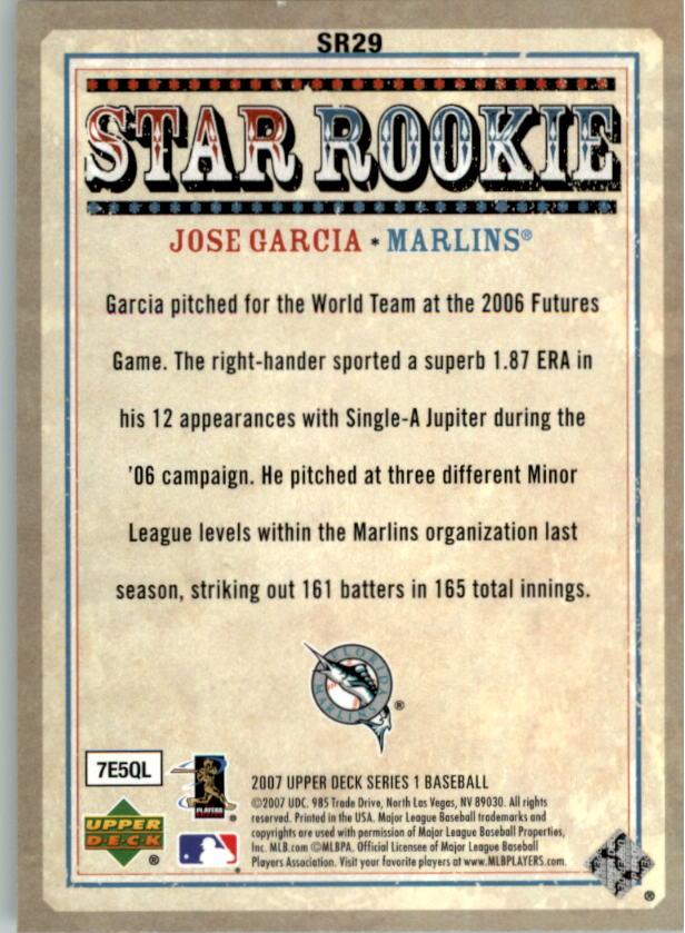 2007 Upper Deck Star Rookies #SR29 Jose Garcia back image