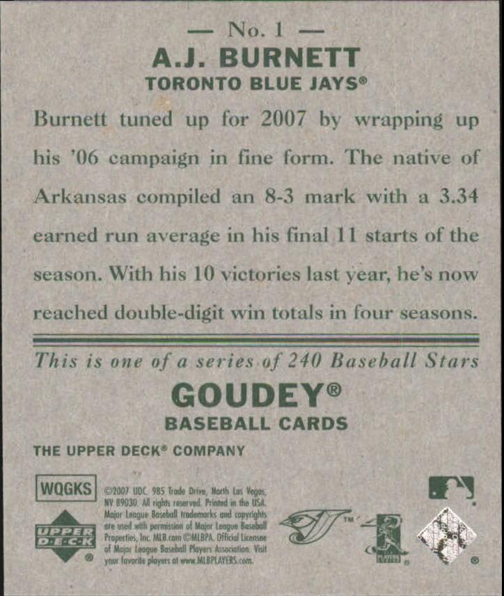 2007 Upper Deck Goudey #1 A.J. Burnett back image