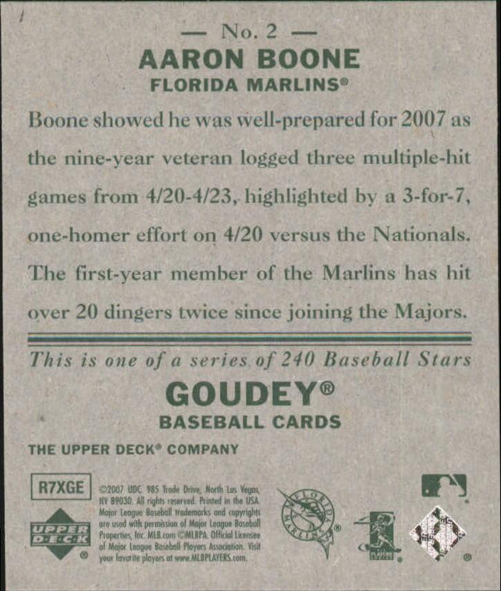 2007 Upper Deck Goudey #2 Aaron Boone back image
