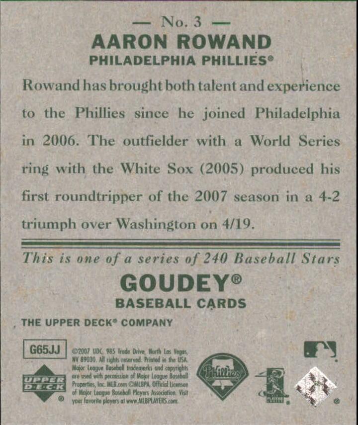 2007 Upper Deck Goudey #3 Aaron Rowand back image