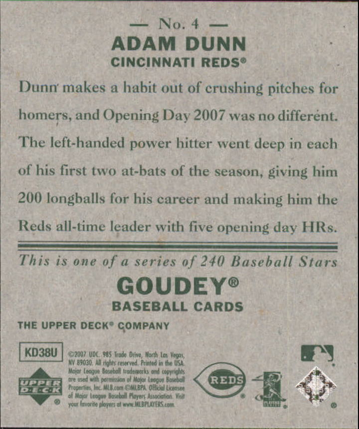 2007 Upper Deck Goudey #4 Adam Dunn back image