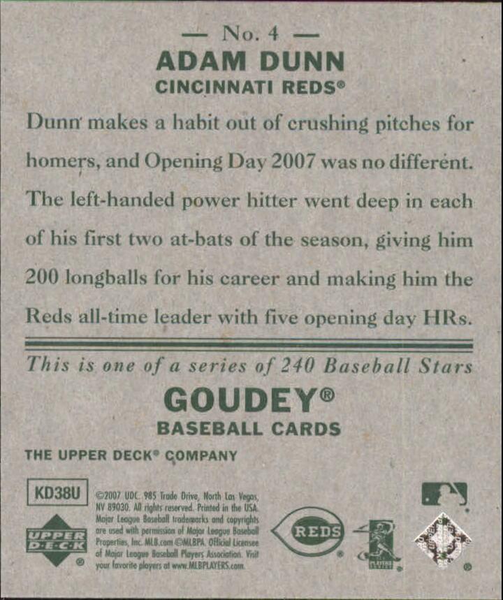 2007 Upper Deck Goudey #4 Adam Dunn back image