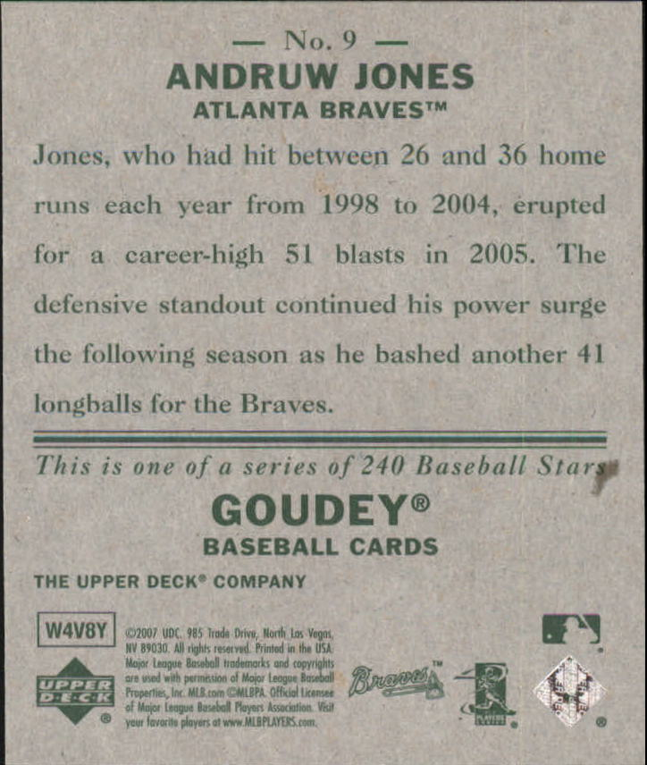 2007 Upper Deck Goudey #9 Andruw Jones back image
