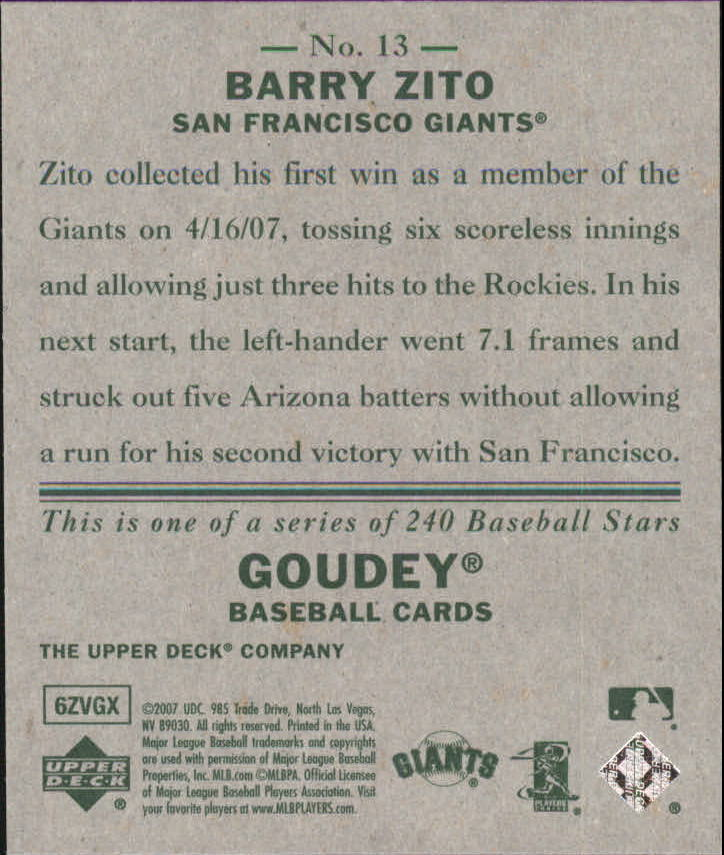 2007 Upper Deck Goudey #13 Barry Zito back image