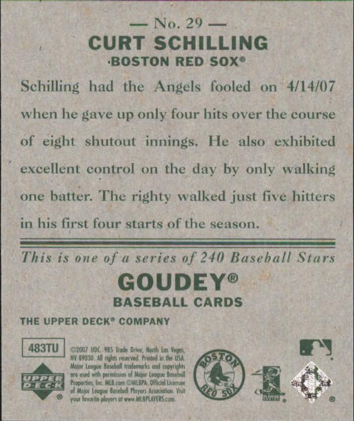 2007 Upper Deck Goudey #29 Curt Schilling back image
