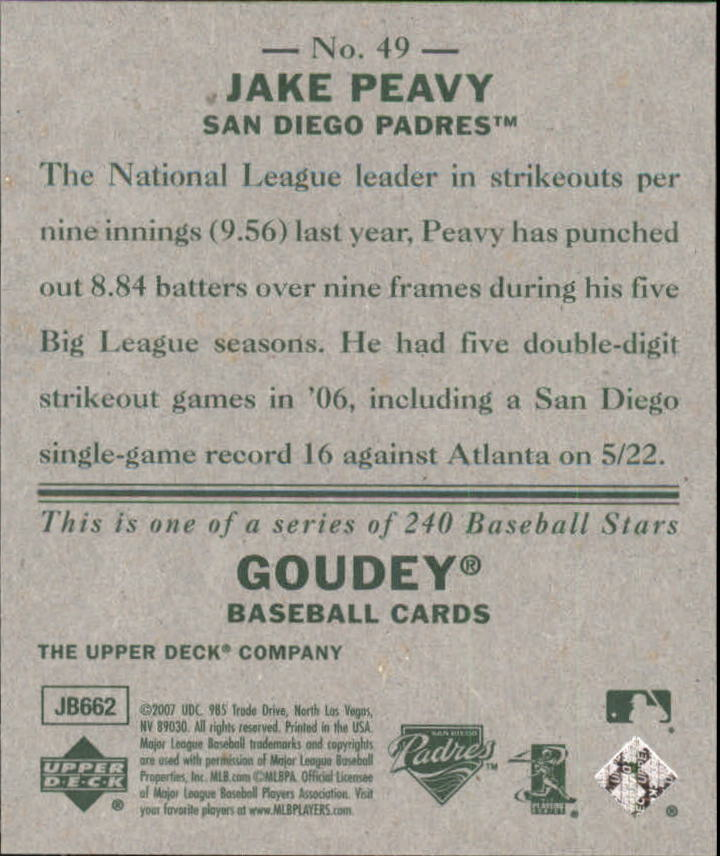 2007 Upper Deck Goudey #49 Jake Peavy back image